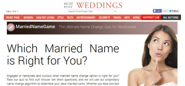MarriedNameGame.com Featured on the Huffington Post